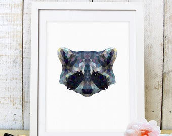 30% OFF SALE Raccoon Print, Raccoon Art, Raccoon Wall Art, Geometric Raccoon Print, Raccoon Print,  Origami Raccoon, Geometric Raccoon