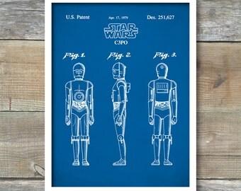 Star Wars Star Wars C3PO Poster, C3PO Patent, C3PO Print, C3PO Art, C3PO Decor, C3PO Wall Art, C3PO Blueprint, P76