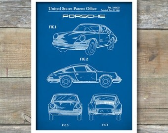 Porsche 911 Patent, Porsche 911 Poster, Porsche 911 Art, Porsche 911 Print, Porsche 911 Decor, Porsche 911 Blueprint P68