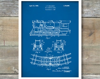 "Retro 1930 ""Toy Locomotive"" Vintage Patent Illustration, Art Print Poster, Wall Art, Home Decor, Toy Locomotive, Play Train, Gift Idea, P189"