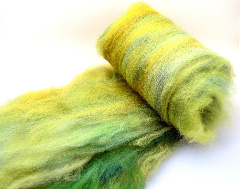 Wool spinning batt felting wool batt hand dyed yellow for Fiber batt