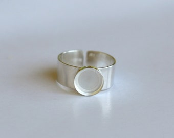 Handmade 10mm round bezel 925 sterling silver man adjustable ring base