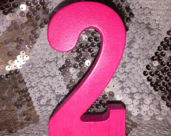 Hot Pink Wood Number-Birthday Cake Number-Mini Number 2-Mini Number 1-Mini Number 3-Wood Number-Chose any color-Birthday Cake Topper