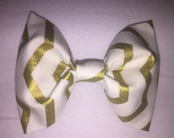 Baby boy bow tie-gold and white chevron-clip-on-infant-toddler-newborn