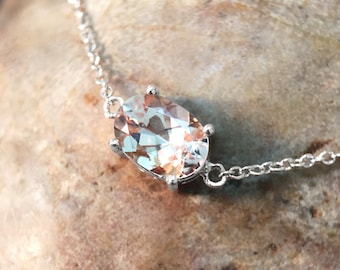 Morganite Pendant <Prong> Solid 14K White Gold (14KW) Affordable Colored Stone Chain Necklace *Fine Jewelry* (Free Shipping)