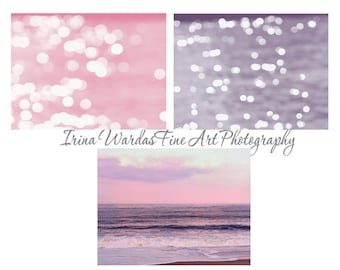 Pink and purple ocean photography set, beach print set, sparkling light bokeh sunset art, 3 11x14 nautical prints, beach bedroom wall art