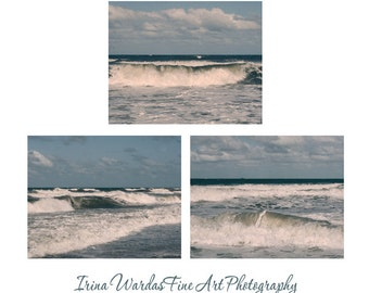 Ocean photography set 3 11x14, 8x10 ocean pictures, surf wall art prints, waves wall art set, wave photograph, blue teal beach cottage decor