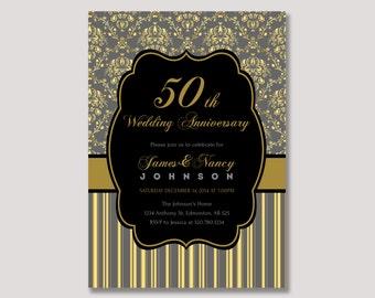 Damask Anniversary Invitation, 50th Wedding Anniversary Invitation - 20th,30th,40th - Gold - ANN21