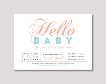 Unique Baby Shower invitation, Couples Baby Shower Invitation - girl baby shower Invite - BabyShower, Baby Girl - BBS11