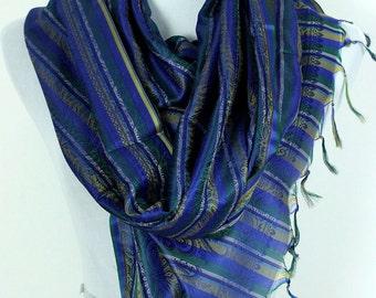 Striped Print Scarf (Blue)