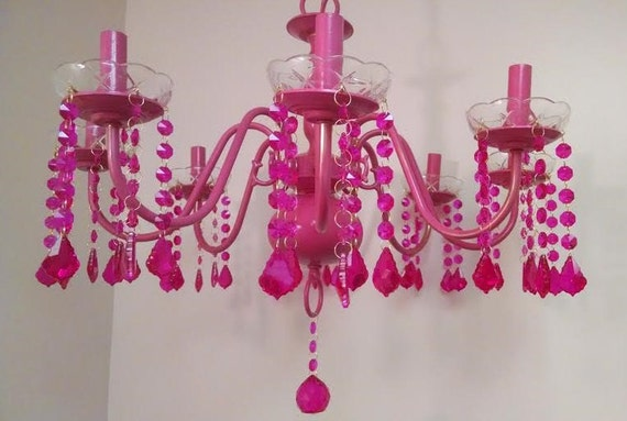 Items similar to Hot Pink Chandelier Fuchsia Shabby French