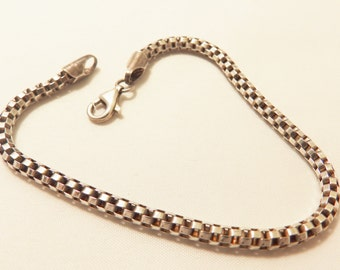 Thick Sterling Silver Box Chain Link  Bracelet