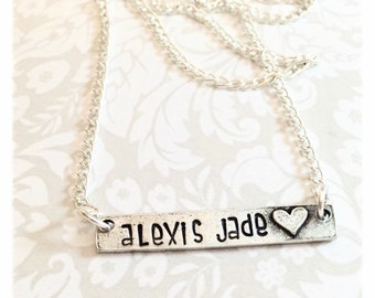 Children's necklace - Hand stamped name necklace - Gift for girls - Hand stamped necklace - Child name plate with heart -Custom necklace