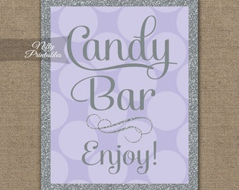 Candy Buffet Sign - Lilac Gray Candy Bar Sign - Printable Glitter Candy Table Signs - Lavender Wedding Signs - Bridal Baby Shower Candy LHD