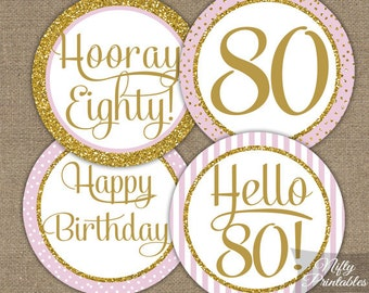 80th Birthday Cupcake Toppers - Pink Gold Glitter - 80th Birthday Party Printable - 80th Birthday Favor Tags - 80th Birthday Decorations PGL