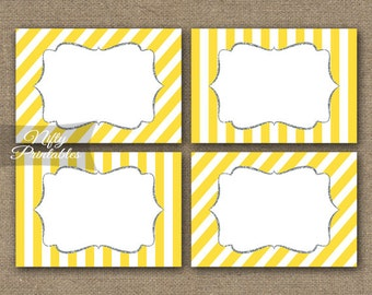 Yellow Labels - Yellow White Labels Party Printables - Yellow Gray Nametags - Yellow Bridal Baby Favor Tags - Yellow Gray Party Decor YGL