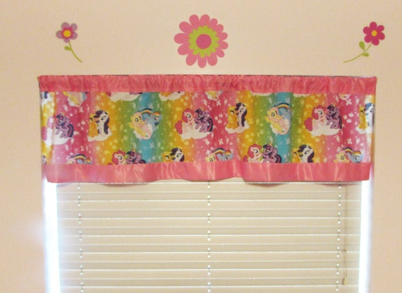My Little Pony satin edge curtains/cotton valance/choice satin edge color