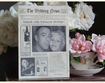 Newspaper Style Wedding Invitation, Vintage Wedding Invitation. Unique Wedding Invitation, Rustic Invite, Quirky Wedding Invitation, SAMPLE
