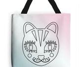 Eco Cat Tote Bag, Handmade Animal Print Shopper Bag, Long Handle, Shoulder Bag, Geometric Book Bag, Modern Safari Canvas Bag, Gifting, UK