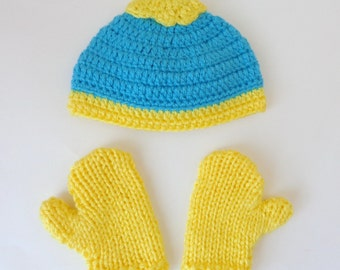 Eric Cartman Hat And Mittens Or Gloves From South Park  Newborn to Adult Halloween /Cosplay