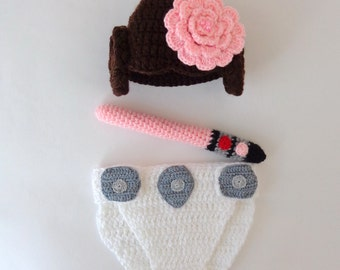 Princess Leia Baby Costume - Hat And Diaper Cover With Light Saber  From Star Wars For Girl Newborn With Flower Halloween