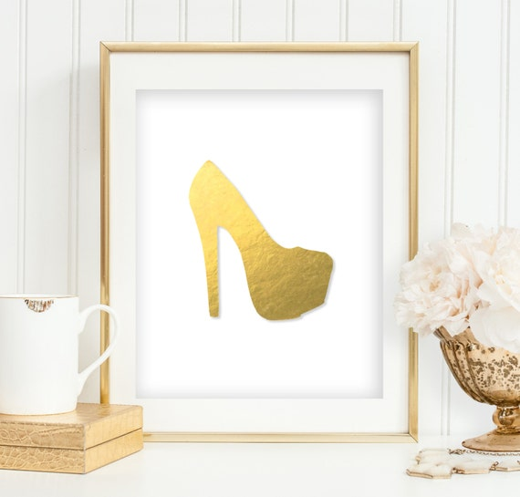 Gold Foil High Heel Print Bedroom Wall Art Platform Heel Pump
