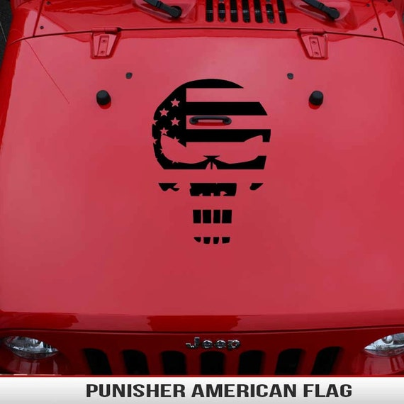 Punisher American Flag Hood Decal Vinyl