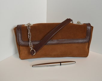 Leather handbag, leather purse with chain and leather strap