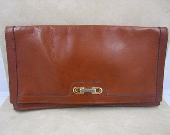 Lovely tan cognac vintage leather envelope clutch and/or shoulder purse