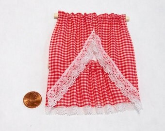 red cafe curtains dollhouse miniature 1/12 scale