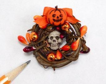 halloween wreath dollhouse miniature 1/12 scale