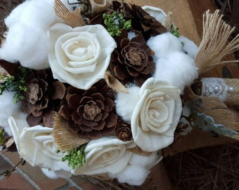 Wedding bouquet,  Bridal Bouquet, Rustic Bouquet, Cotton Bouquet, Shabby Chic Bouquet