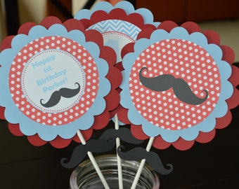 Mustache Centerpiece - Mustache Party Centerpiece - Mustache Bash - Chevron Centerpiece - Red and Blue - Set of 3