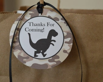Dinosaur Favor Tags - Camo Favor Tags - Dinosaur Theme Birthday - Dinosaur Party - Camo Party - Set of 12