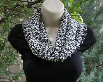 Black and White Textured Cowl Scarf
