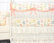 Vintage Lace Ruffle Designer Baby Bedding | Coral and Mint Bentley's Butterfly Collection