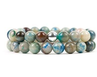 Quantum Quattro Bracelet, Chrysocolla Bracelet, Natural Healing Gemstone Bracelet
