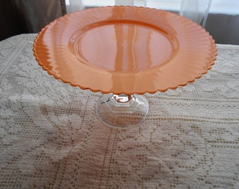 Scalloped Edged Orange Glass Dessert Plate Stand