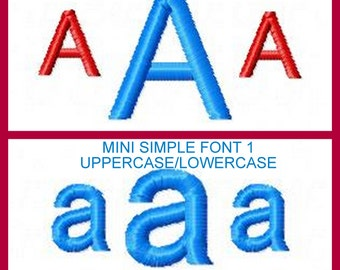 Mini Simple Font 1 .40 AND .80  Smaller than a inch great for small embroidery hoops