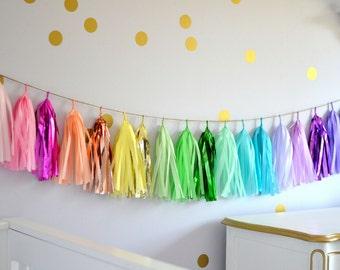 Pastel Rainbow Tissue Paper Tassel Garland // Rainbow