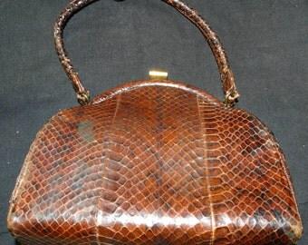 Beautiful Vintage 1940's Snakeskin Handbag