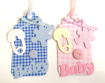 2 Handmade cute Gingham Baby gift tags with lots of embellishments for baby showers nappy cakes gift presents