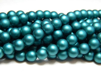 6mm Teal Glass Pearls, 6mm Teal Beads, 6mm Teal Pearls, Matte Teal Beads, Teal Pearls, Czech Pearls, Matte Beads, Teal Matte Beads T-092D