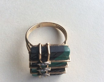 14k malachite Ring