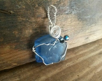 Handmade Cobalt Blue Beach Glass/ Sea Glass Pendant