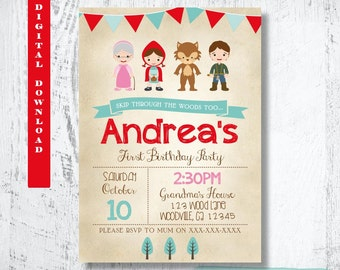 Little Red Riding Hood Invitation.Little Red Riding Hood Birthday Invitation.Red Riding Hood Party.Little Red Riding Hood Printable.Custom.