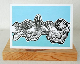 Original ink and gouache 'Pebbles on the shore' postcard illustration