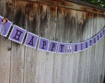 3d Sofia the first birthday banner