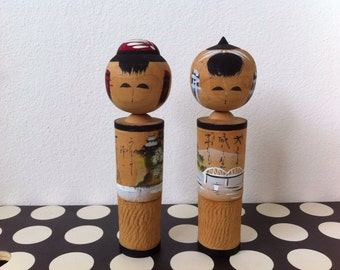 Kawaii 2 vintage Japanese Kokeishi pose dolls from Japan