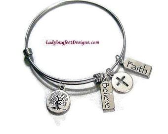 Tree of Life Believe Faith Bangle